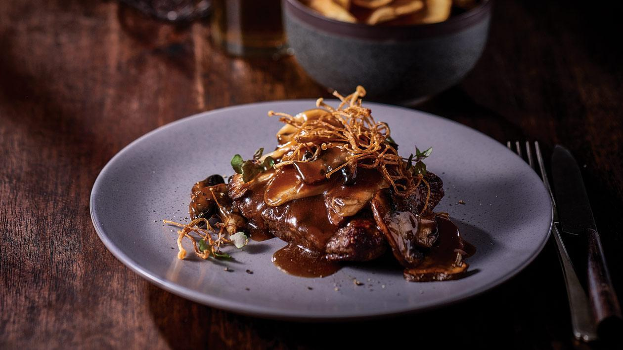 Flat Iron with Truffle Triple Mushroom Sauce – Recipe