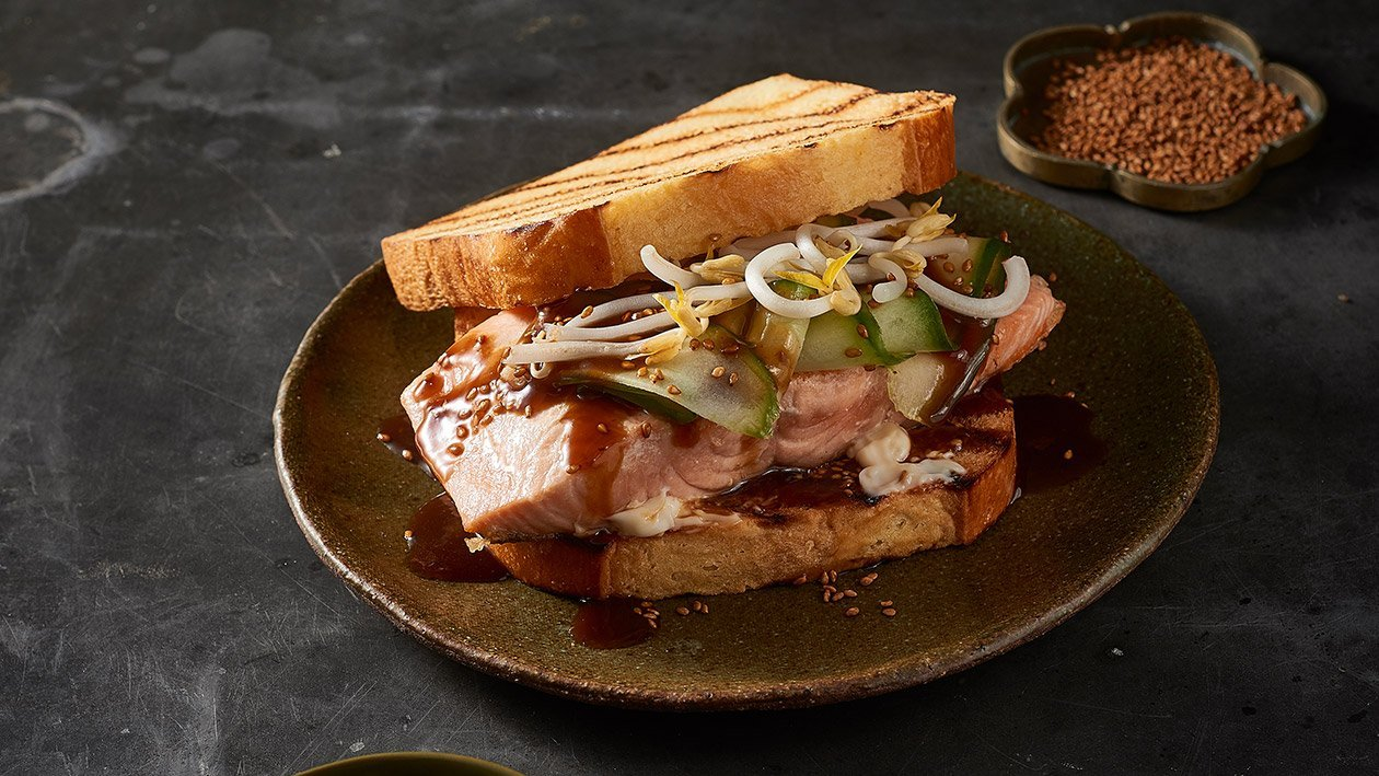 Fried Salmon Steak Sandwich with Teriyaki Mayo – Recipe
