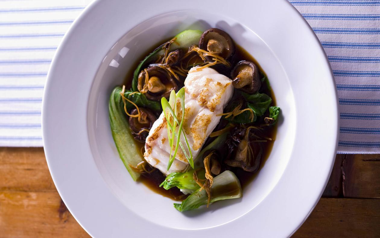 Grilled Blue Eye Cod with Shitake Mushrooms, Shallots, Ginger and Star Anise Broth – Recipe