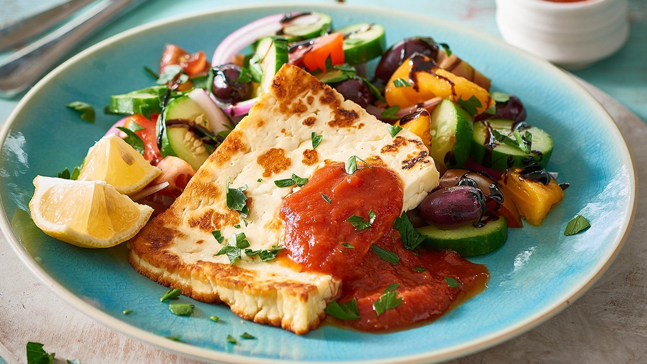 "Grilled Halloumi ""Schnitty"" Salad – Recipe"