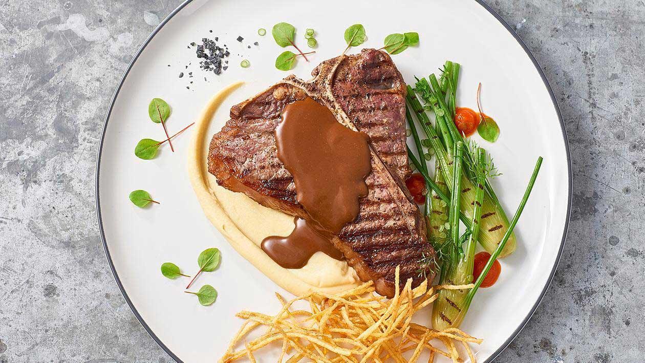 King Cut T Bone, Dianne Sauce, Smoked Garlic and Potato Aioli – Recipe