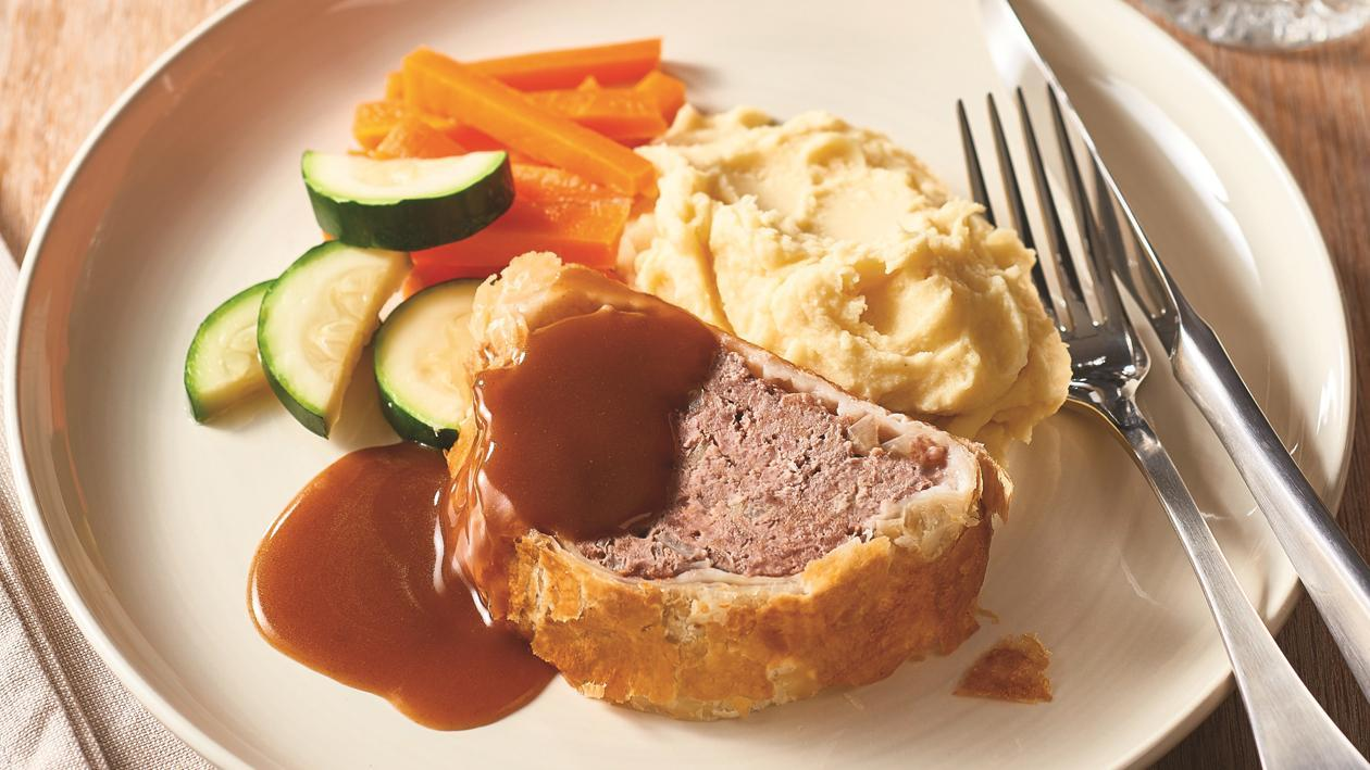 Lamb Meatloaf Wellington with Wholegrain Mustard Gravy – Recipe