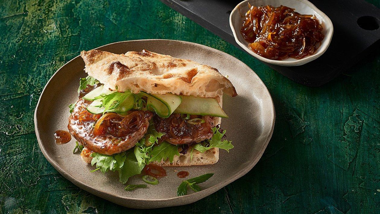 Lamb Steak Sandwich and Sticky Tomato Mint Jam – Recipe