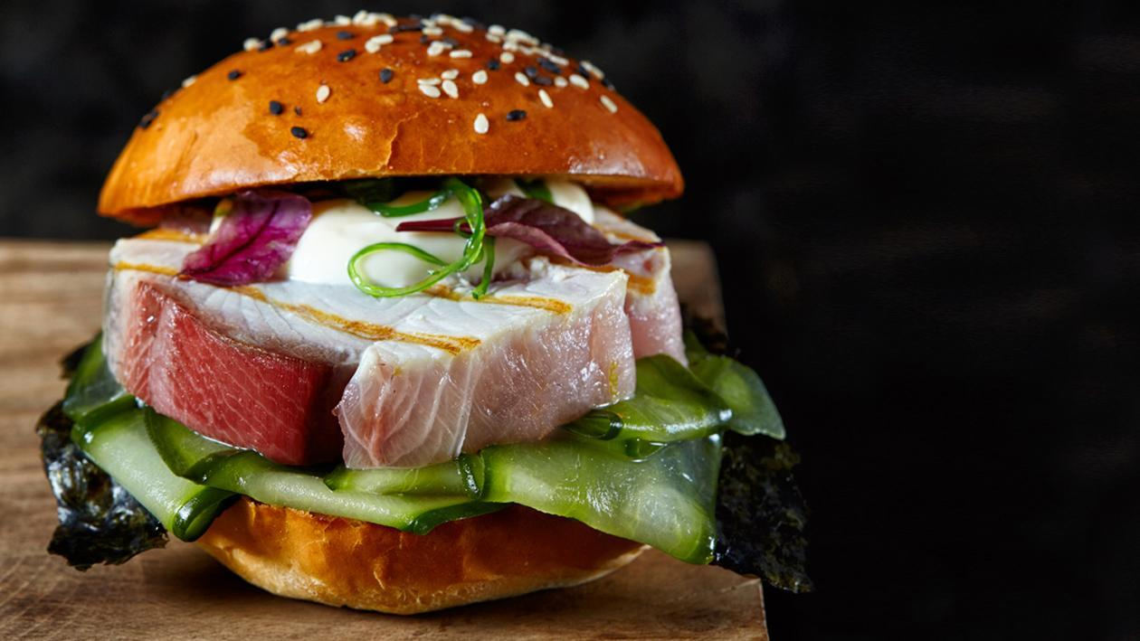 Mahi Mahi Steak Sandwich with Wasabi-Marinated Cucumber – Recipe