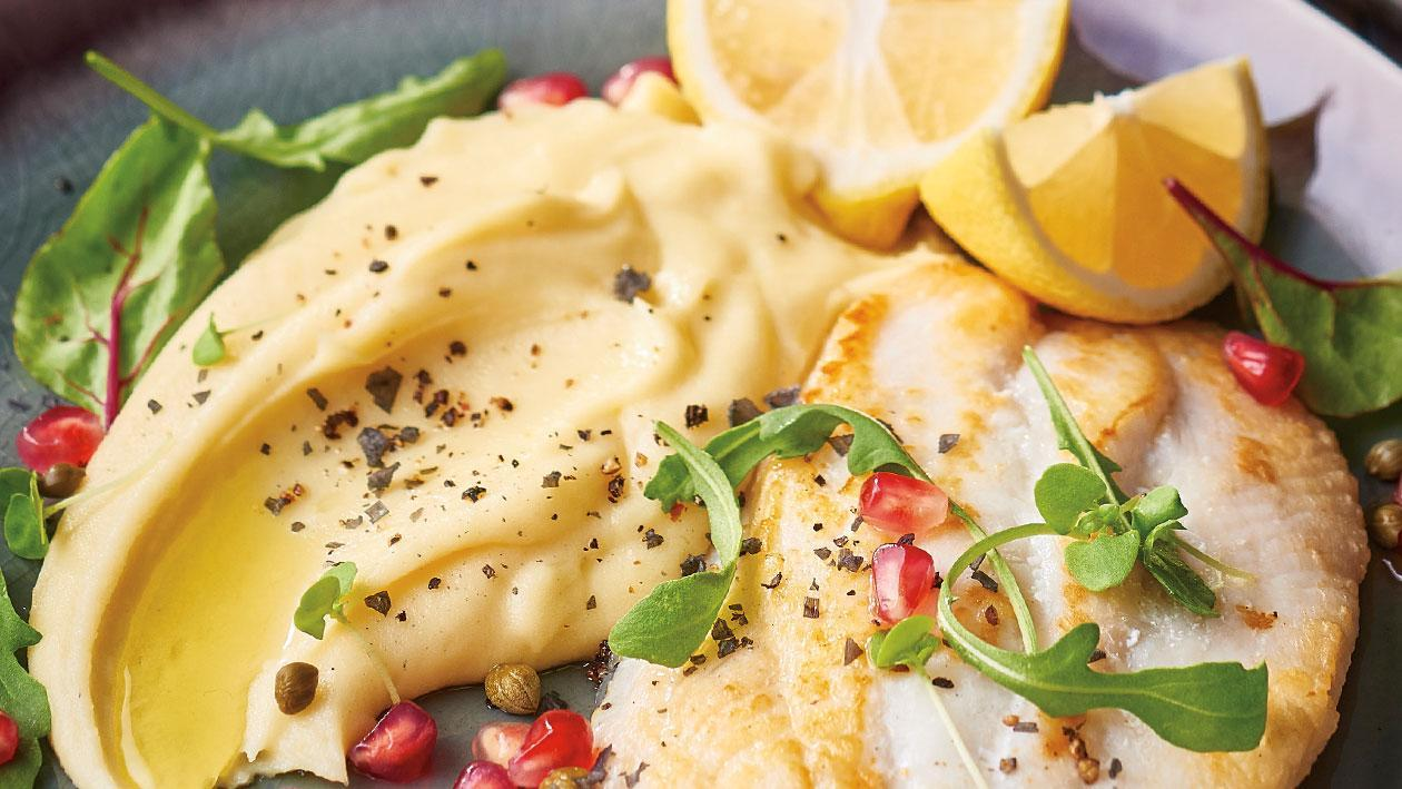 Pan Seared Fish with Potato Aioli, Pomegranate and Capers – Recipe