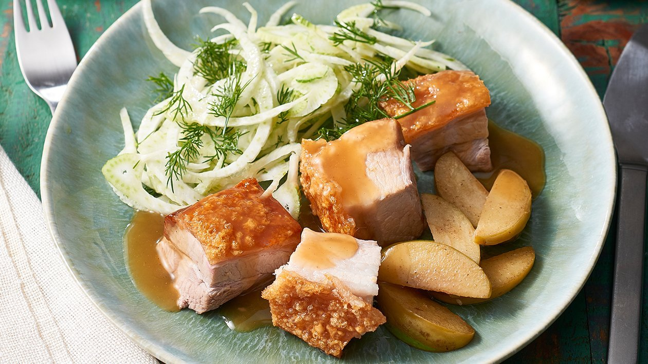 Pork Belly with Sauteed Apples and Cider Gravy – Recipe