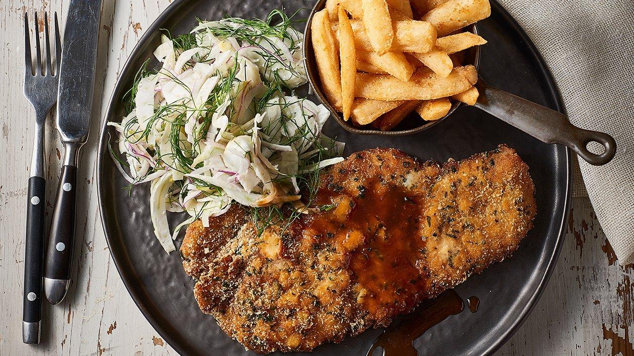 Pork Schnitzel, Coriander Crumb & Wasabi Jus – Recipe