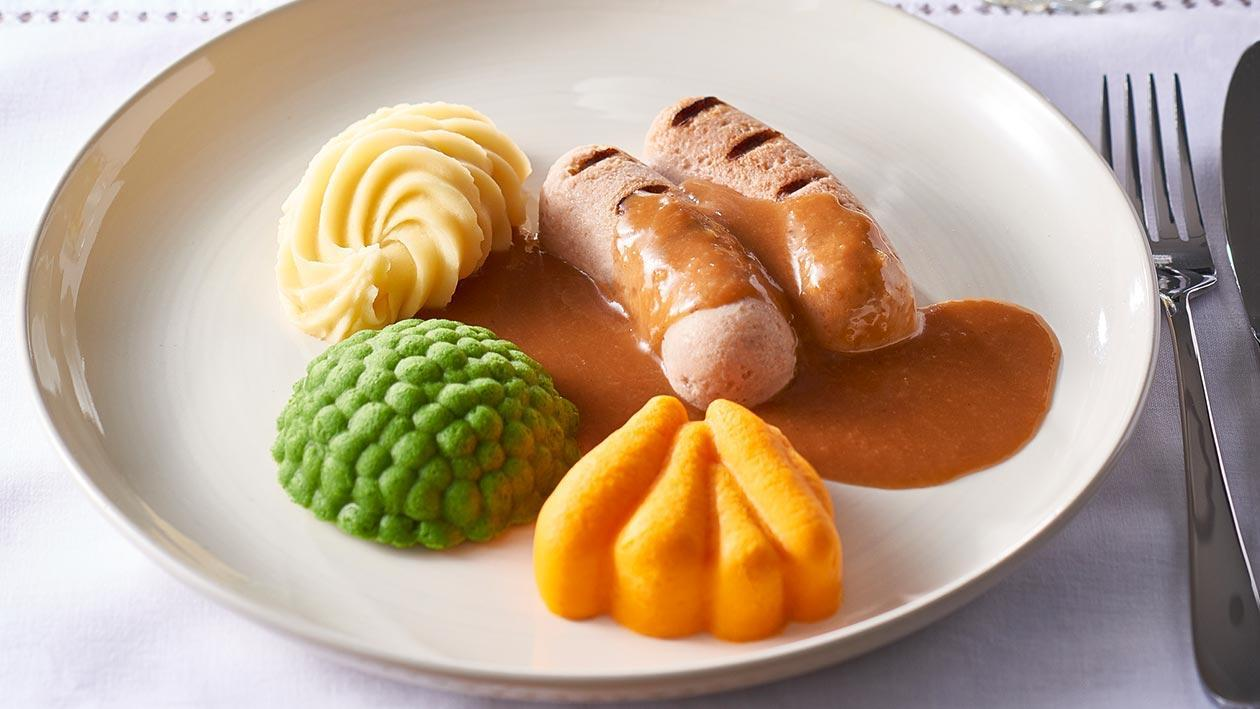 Puréed meal: Sausages, Mash & Gravy – Recipe