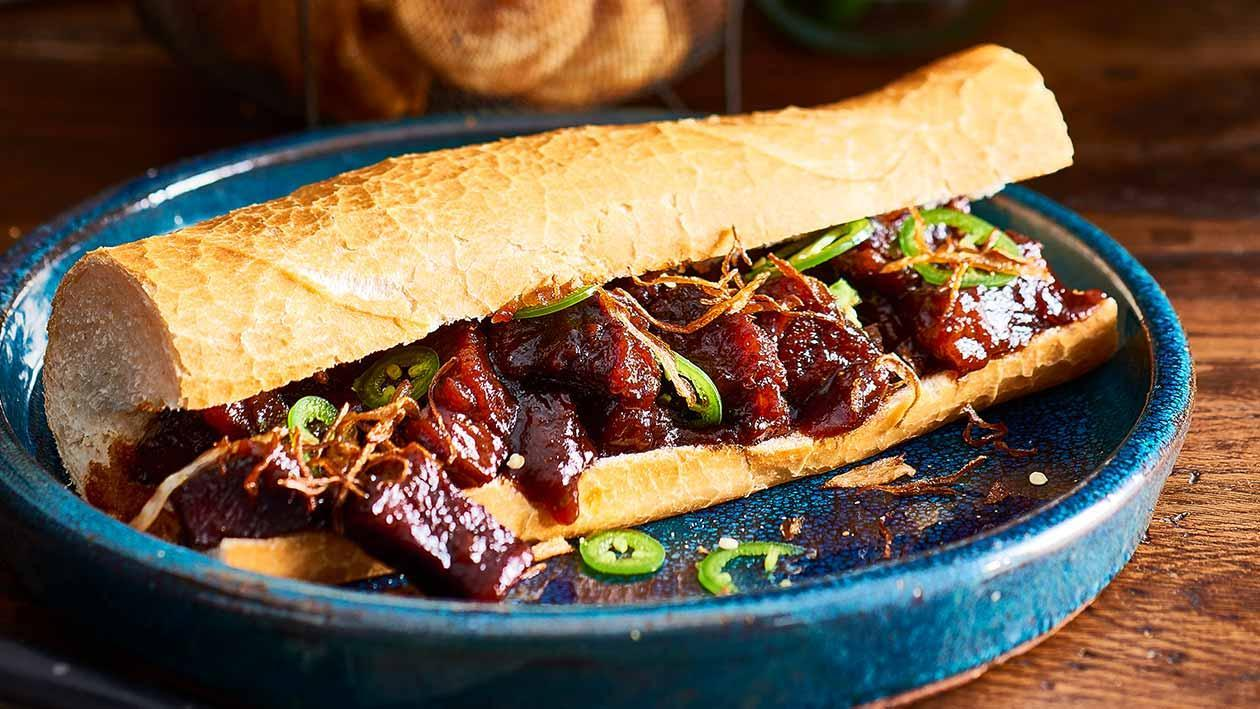 Rib Burnt Ends Hoagie, Whisky Maple BBQ – Recipe