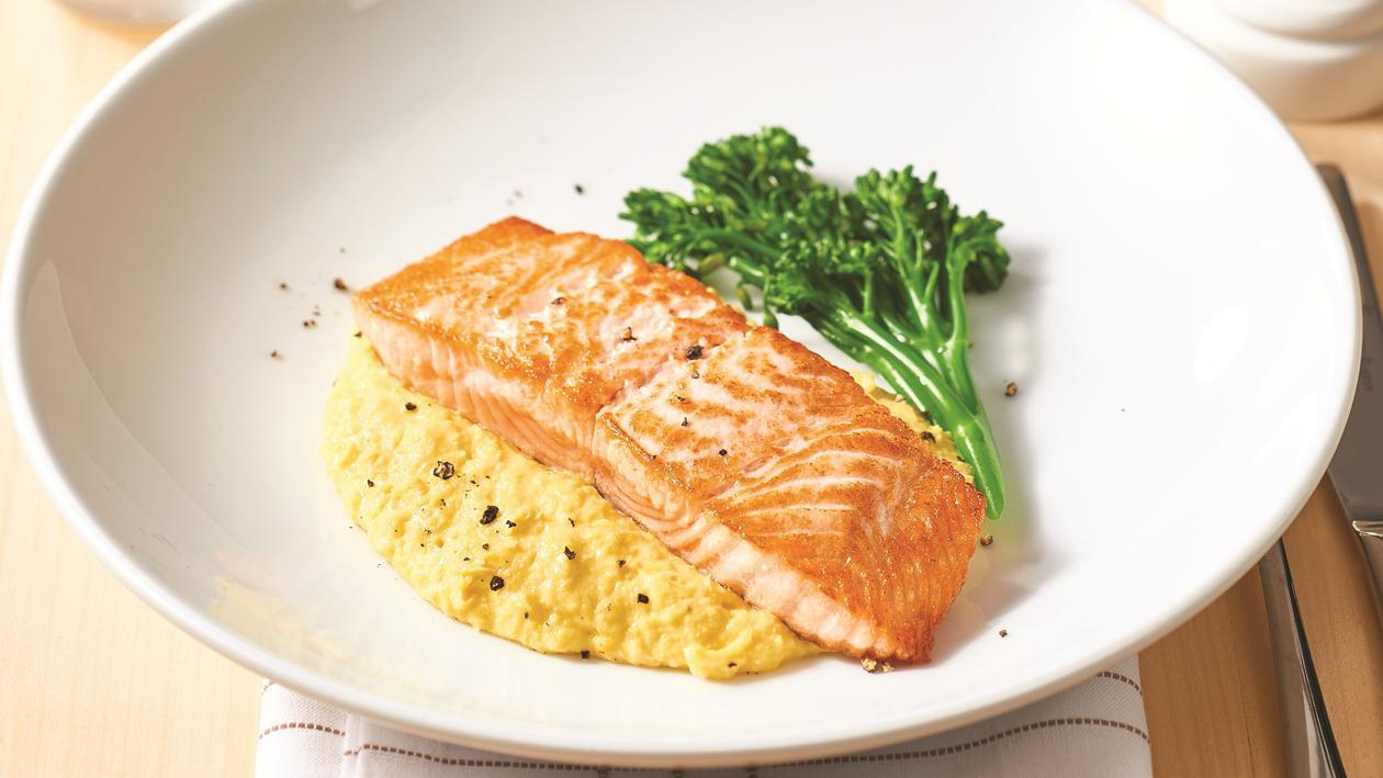Roast Salmon with Corn Puree – Recipe