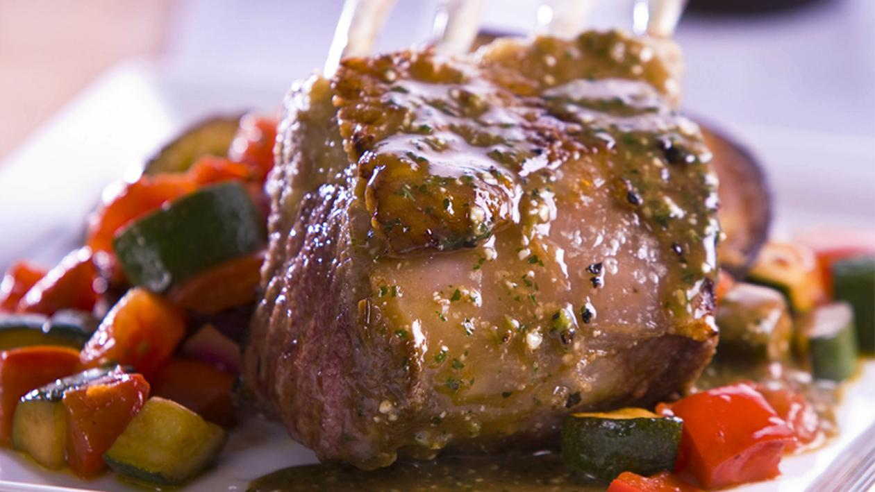 Roasted Lamb Rack with Ratatouille and Mint Pesto Sauce – Recipe
