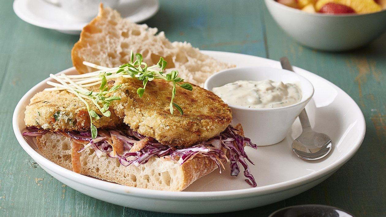 Salmon Cake and Slaw Sandwich – Recipe