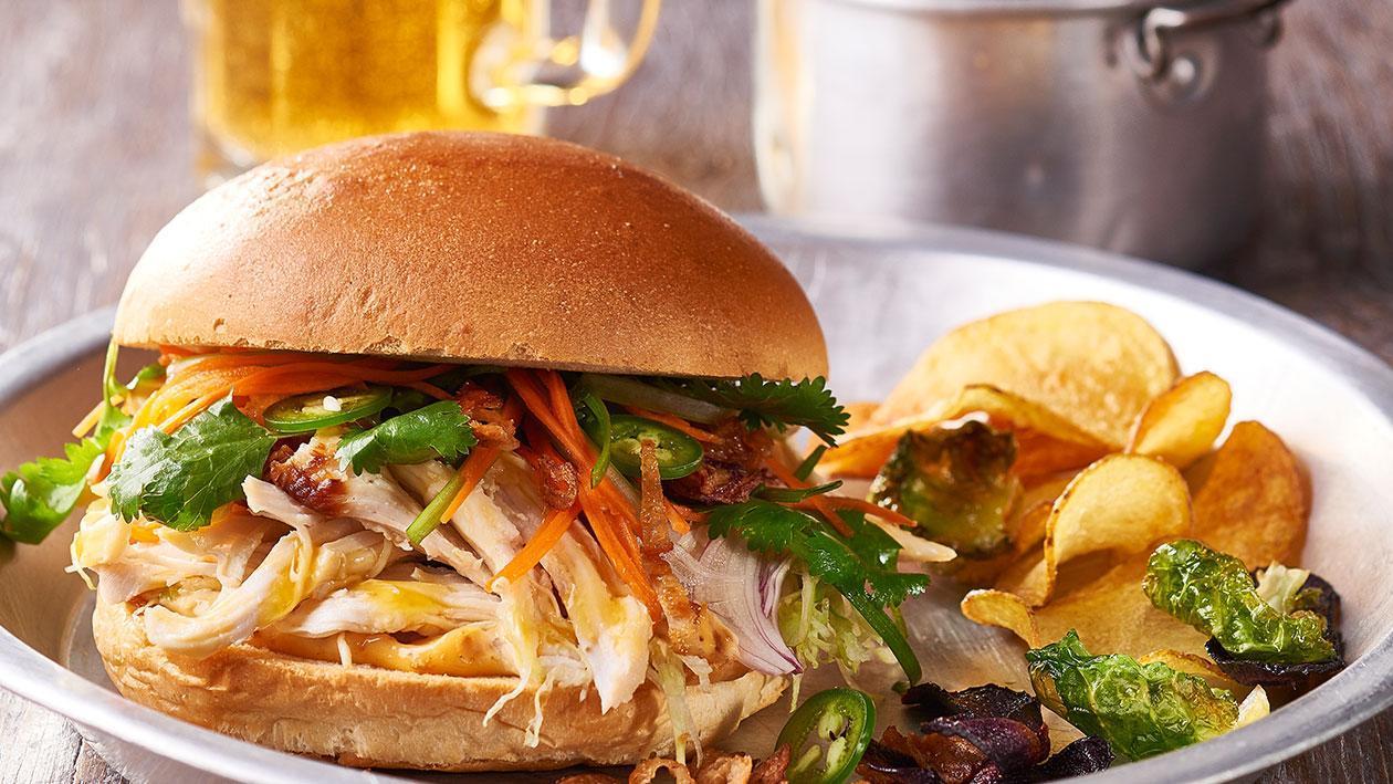 Shredded Chicken Sandwich, Chilli Jam Mayo, Viet Slaw – Recipe