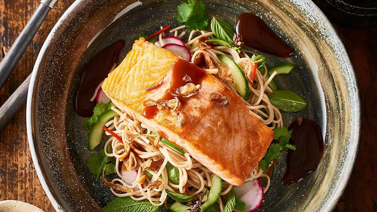 Teriyaki salmon, soba noodle salad – Recipe