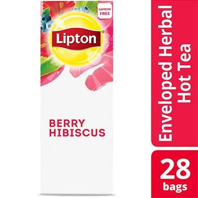 Lipton® Hot Tea Bags Enveloped Berry Hibiscus pack of 6, 28 count