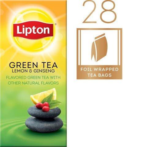 Lipton® Hot Tea Bags Enveloped Green Tea Lemon Ginseng pack of 6, 28 count