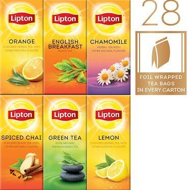 Lipton® Lipton Hot Tea Bags Enveloped Black/Herbal Variety Pack 28 count, Pack of 6