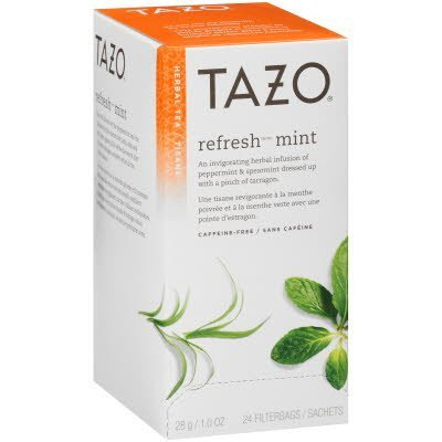 Tazo Hot Tea Filterbag Refresh Mint 24 count, Pack of 6