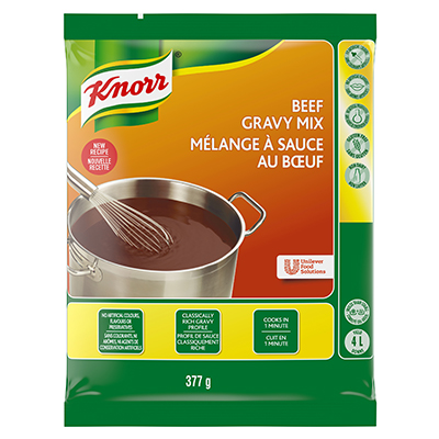 Knorr® Brown Sauces and Gravies Beef 377 gram, pack of 6 - Deliver simple, clean food with ease. Knorr® Gravies are reinvented by our chefs with your kitchen and your customers in mind.