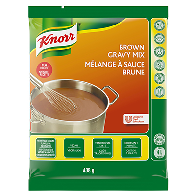 Knorr® Professional Brown Gravy Mix 6 x 408 gr - Deliver simple, clean food with ease. Knorr® Gravies are reinvented by our chefs with your kitchen and your customers in mind.