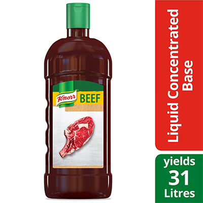Knorr® Professional Liquid Concentrated Base Beef 946 ml, pack of 4 - Deliver simple, clean food with ease. Knorr® Bases are reinvented by our chefs with your kitchen and your customers in mind.