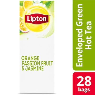 Lipton® Hot Tea Bags Enveloped Green Tea Orange Passionfruit Jasmine pack of 6, 28 count -