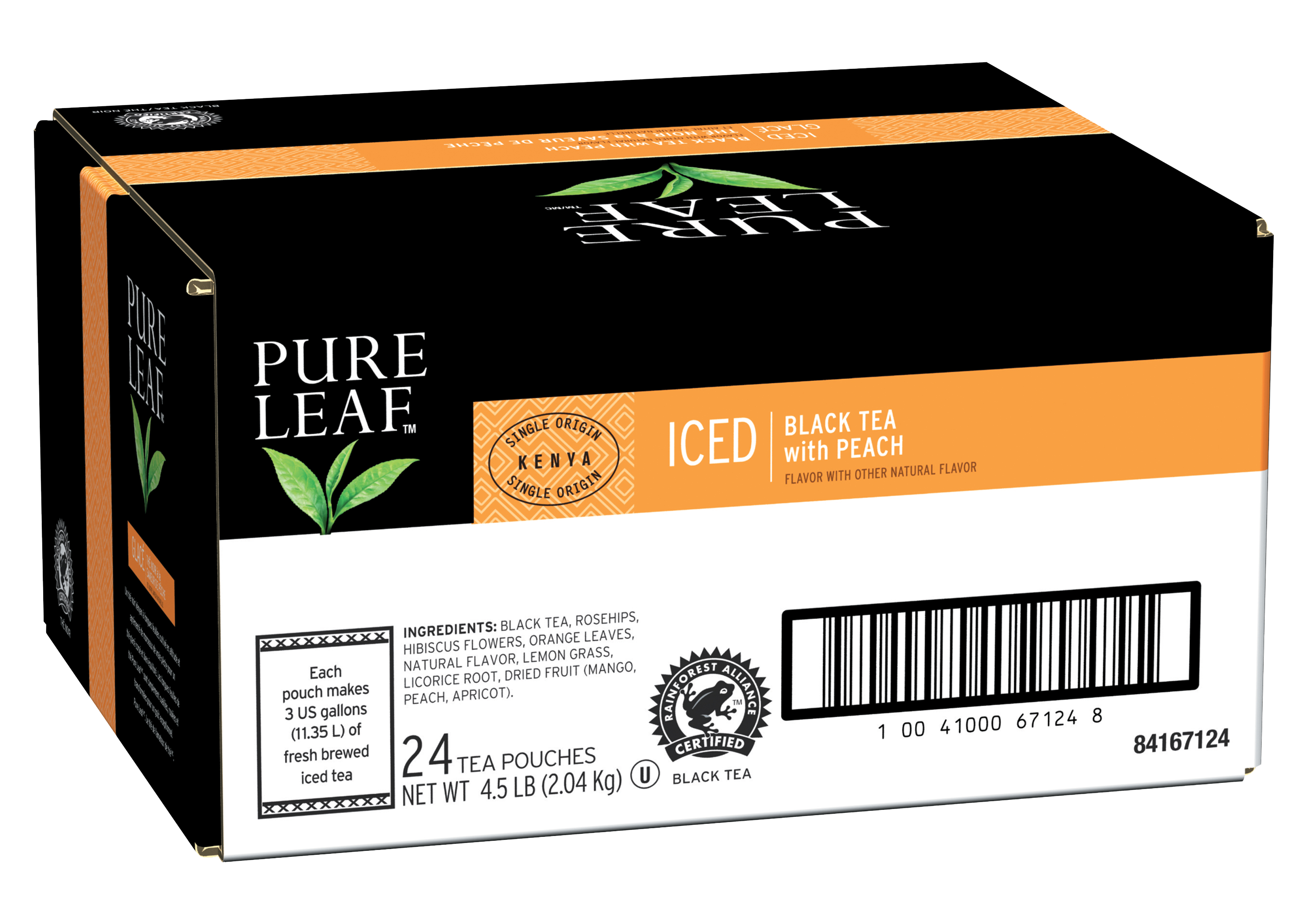 Pure Leafᵀᴹ/ᴹᶜ Iced Loose Tea Pouch Black with Peach 3 gallon, 24 count