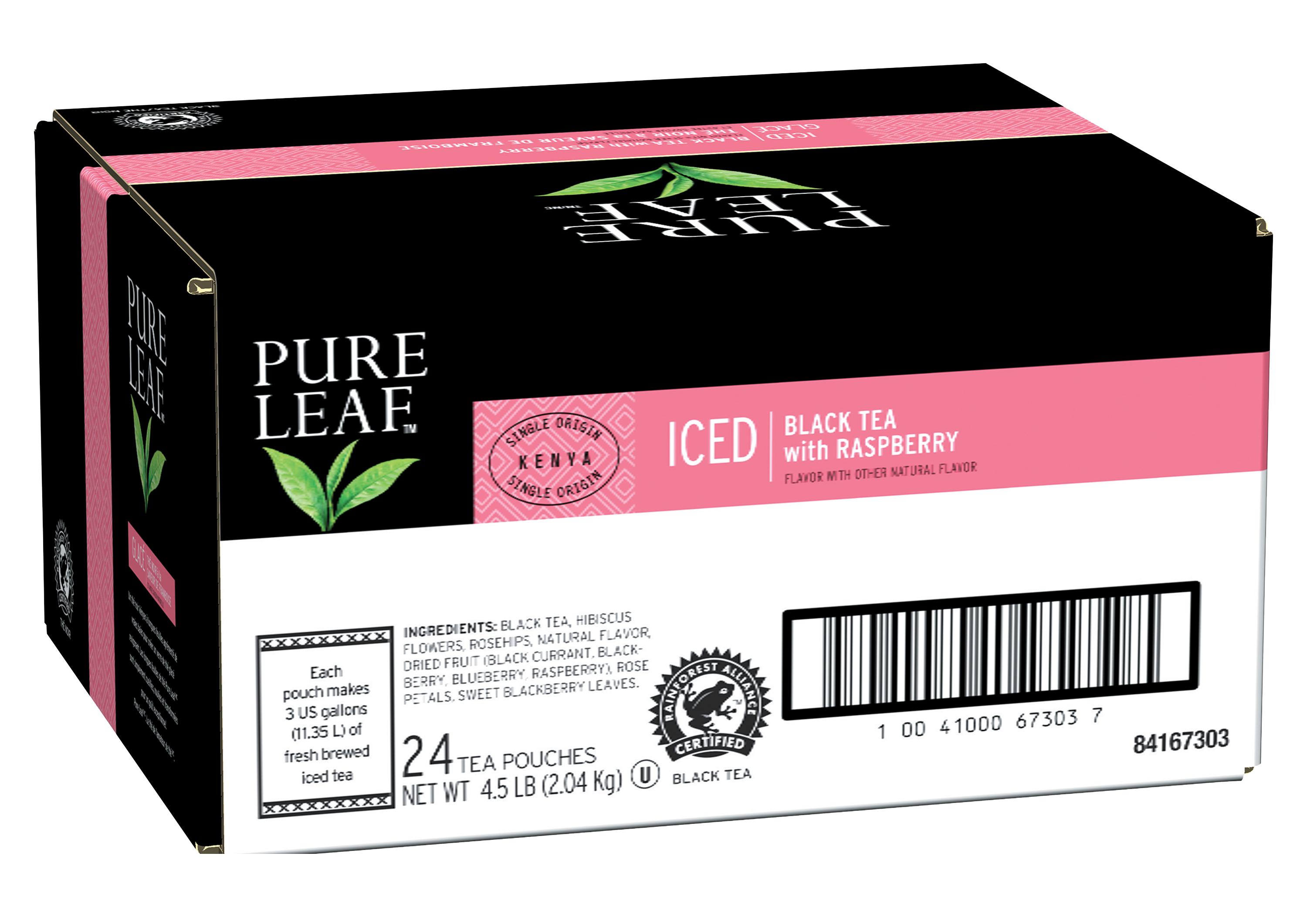 Pure Leafᵀᴹ/ᴹᶜ  Iced Loose Tea Pouch Black with Raspberry 3 gallon, 24 count