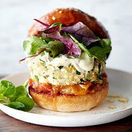 Vegetarian Tofu Zucchini Burger with a Mustard Mayonnaise