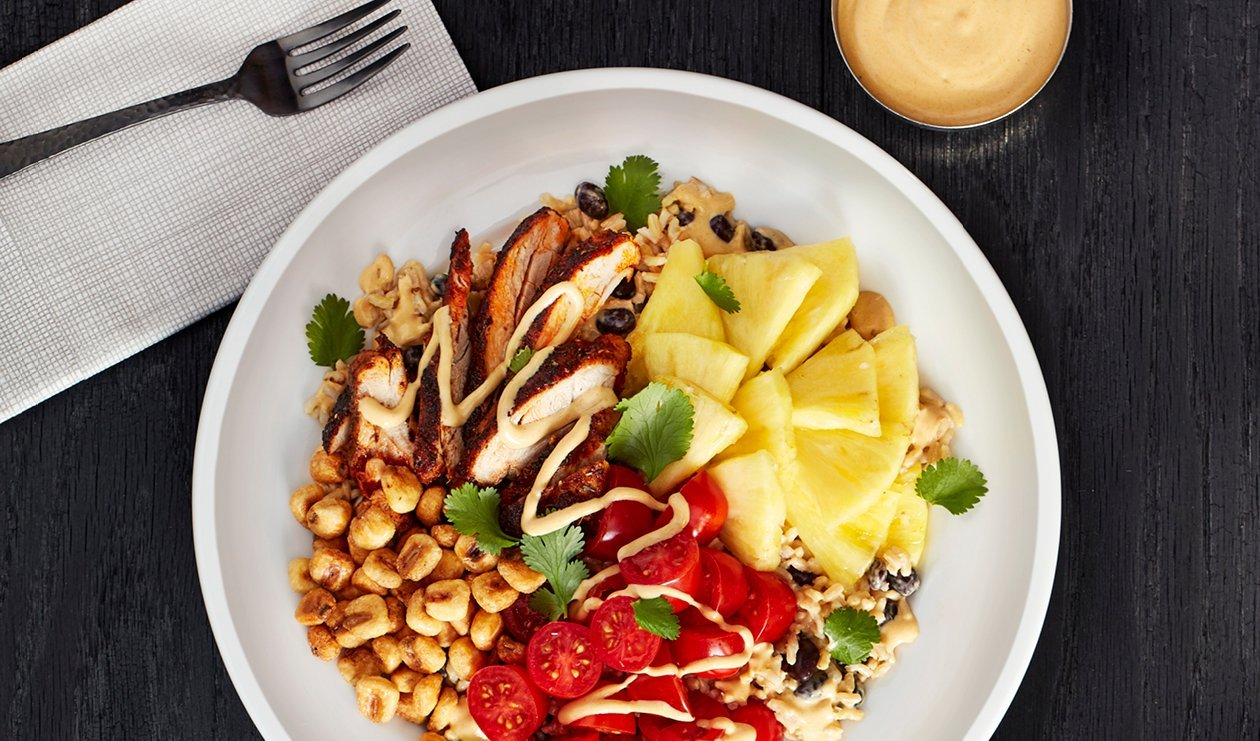Blackened Chicken, Black Bean and Pickled Pineapple Bowl with Aji Amarillo Ranch Dressing – recipe