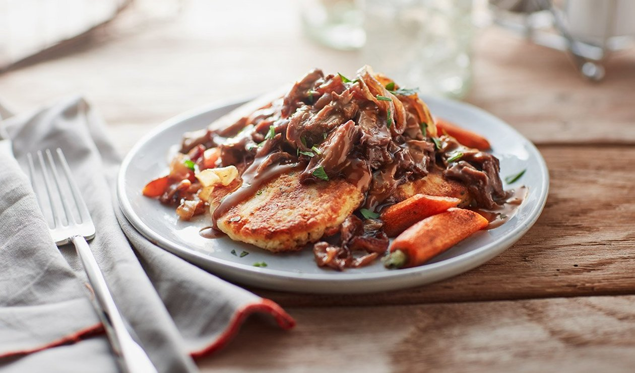 Braised Beef and Carrots on Potato Pancakes – recipe