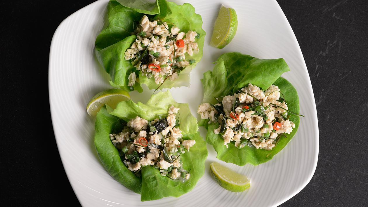 Chicken larb in lettuce cups – recipe