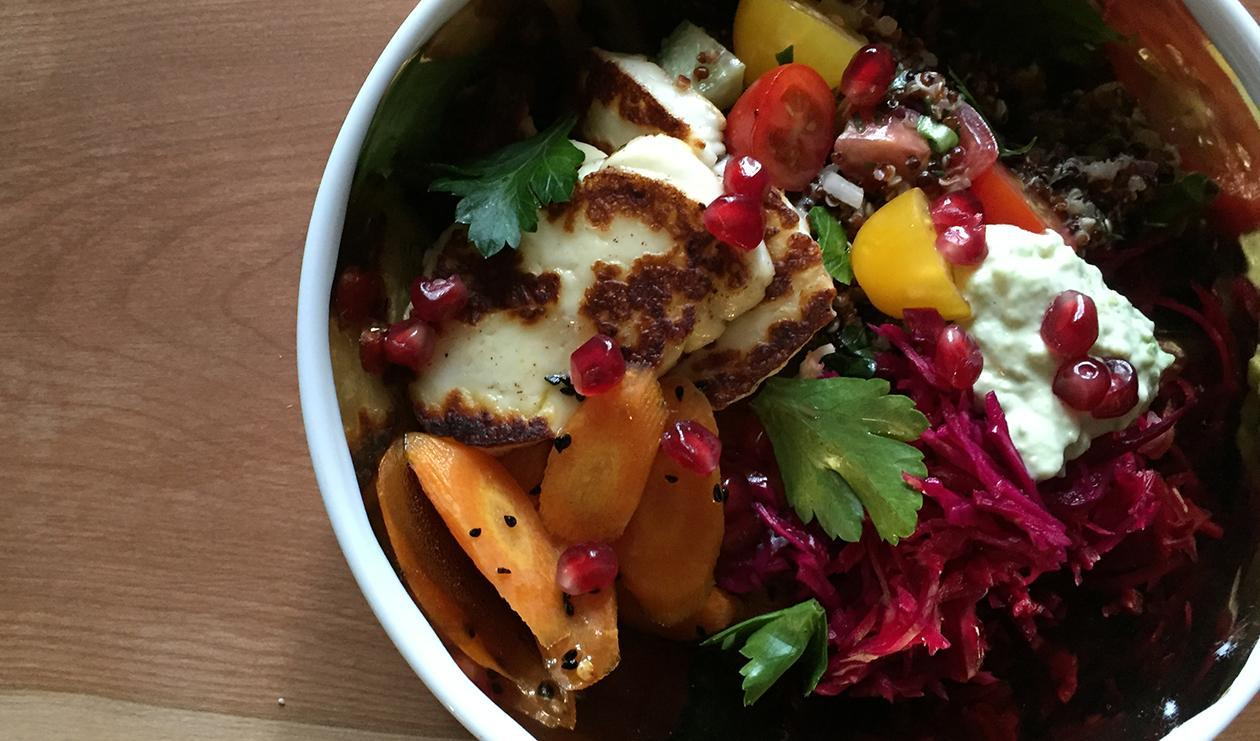 Halloumi-Pomegranate Grain Bowl – recipe