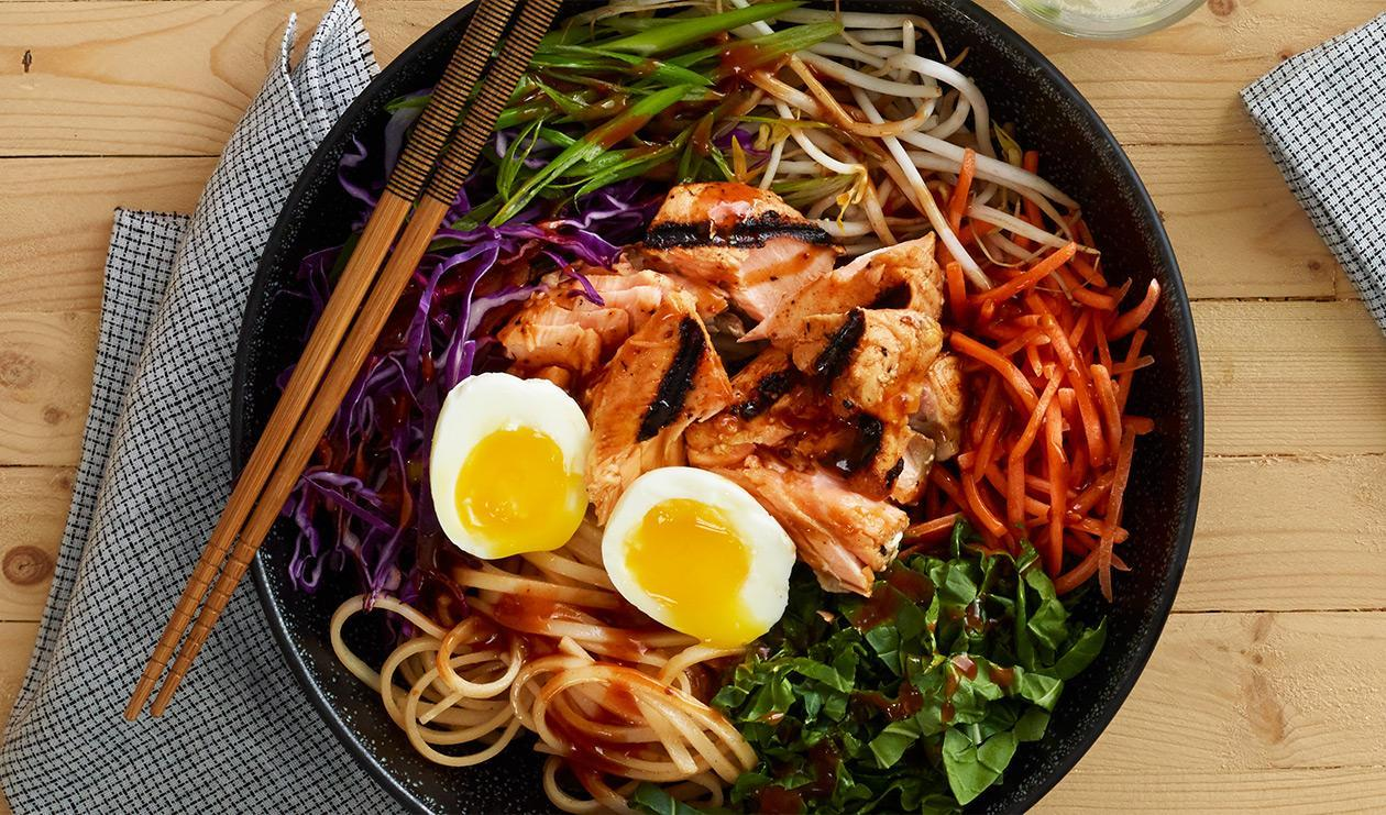 Korean Noodle Salad with Spicy Grilled Salmon  – recipe