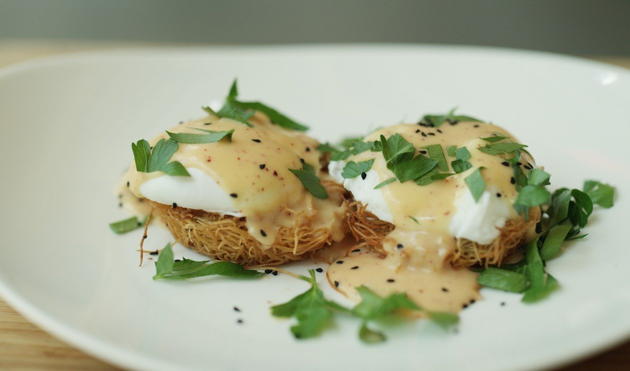 Middle Eastern Eggs Benedict – recipe