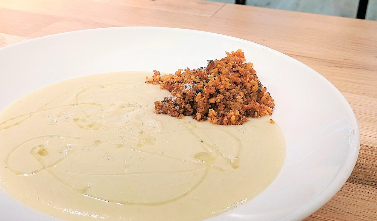 Roasted Parsnip Soup with Chorizo Crumble – recipe