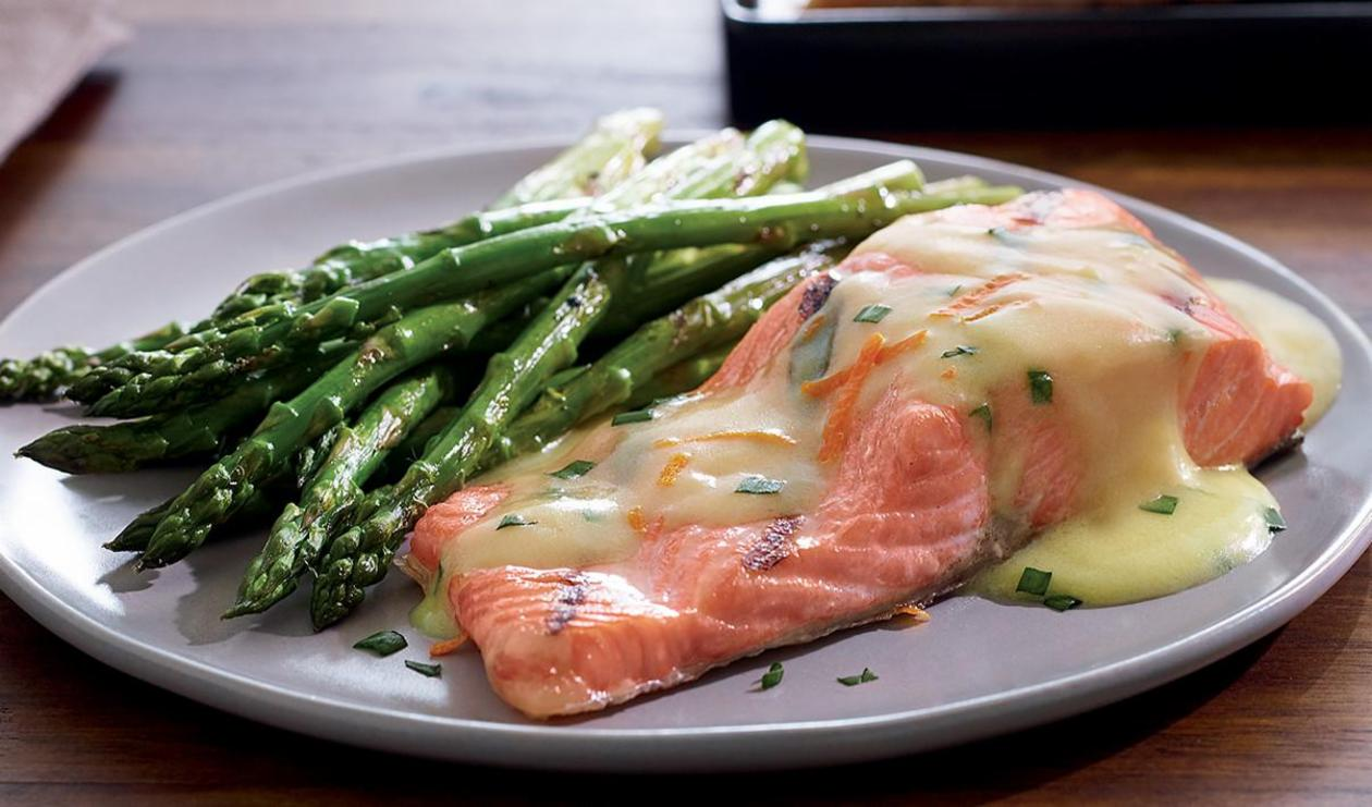 Salmon and Asparagus with Orange Ginger and Chive Sauce – recipe
