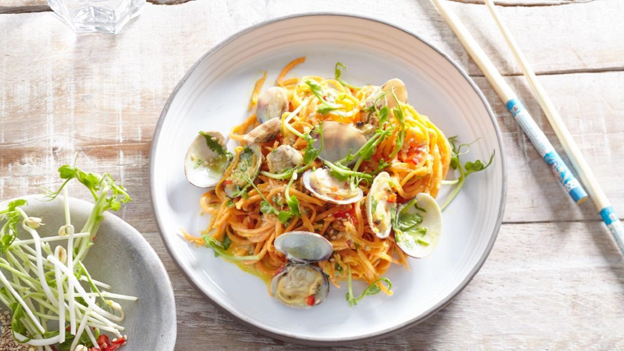 Sweet Potato Noodles with Clams and Creamy Turmeric Sauce – recipe