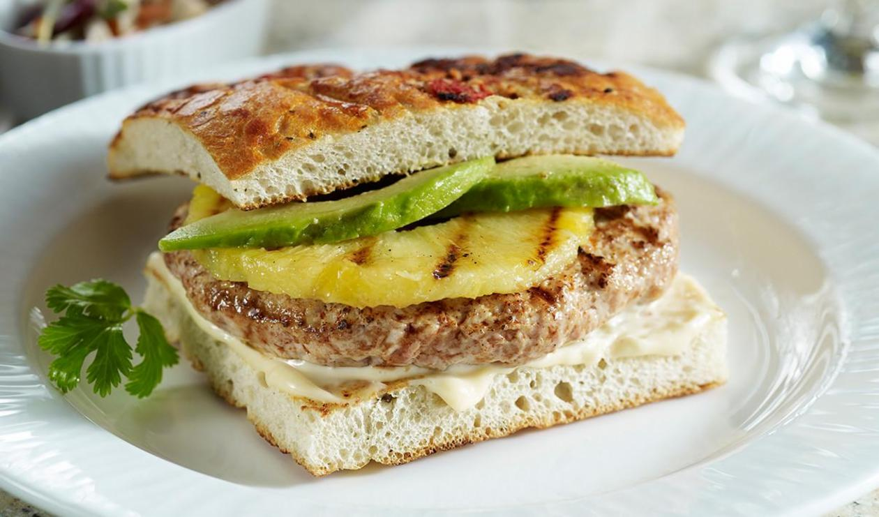 Turkey, Avocado and Pineapple Burger – recipe