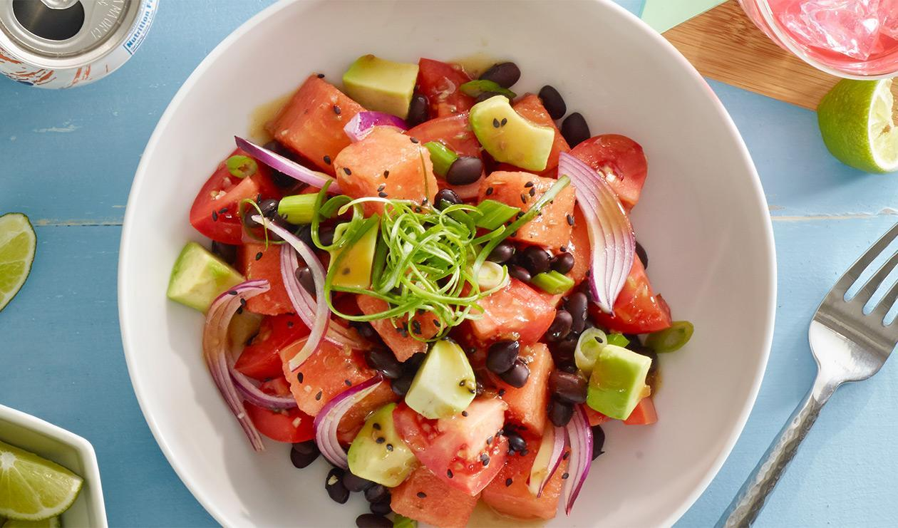 Watermelon and Tomato Poke Bowl – recipe