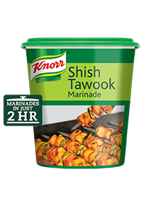 Knorr Shish Tawook Marinade (6x1kg) - Knorr Shish Tawook marinade delivers the strong authentic flavors ensuring the chicken is juicy and flavorful inside out