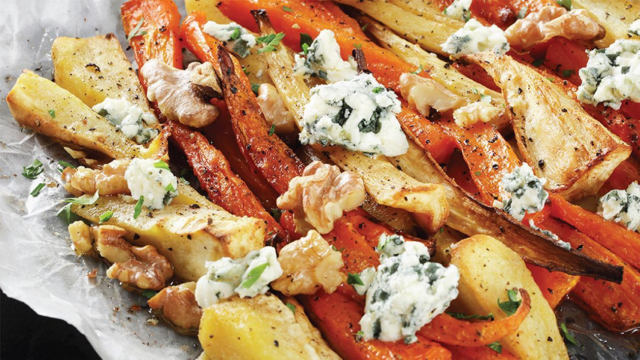 Honey Blue Cheese Parsnips & Carrots