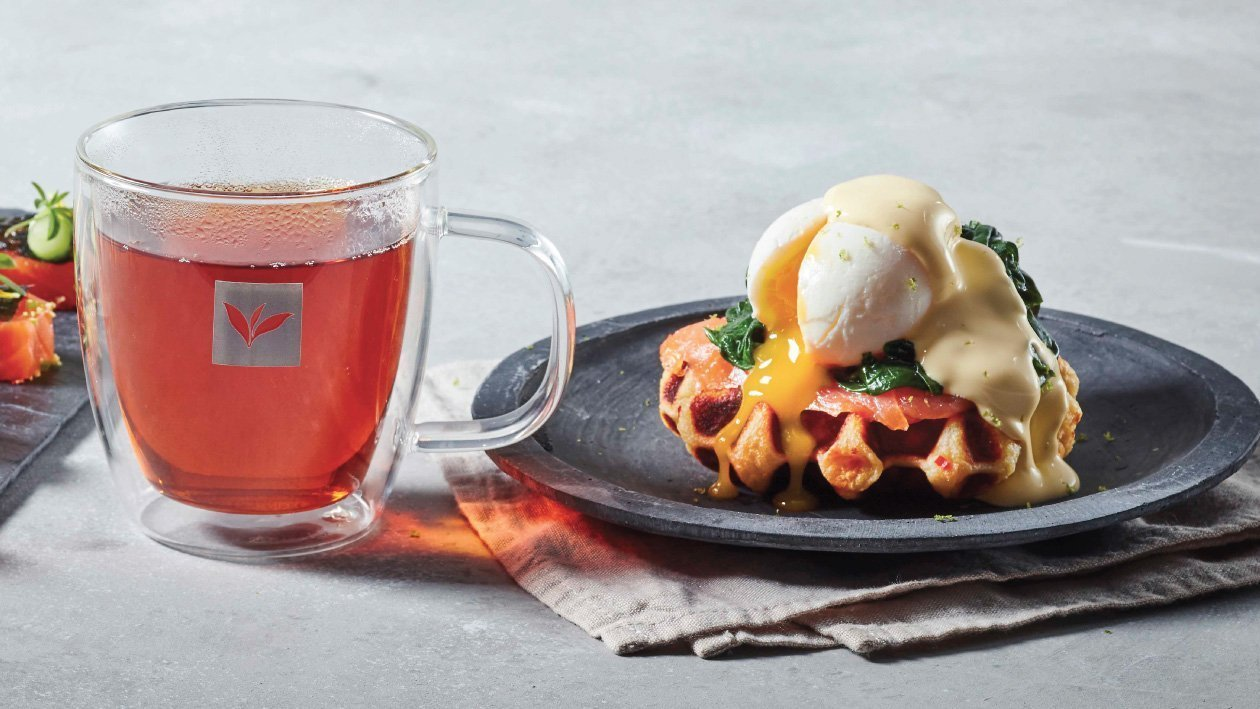 Potato Waffle with Poached Egg