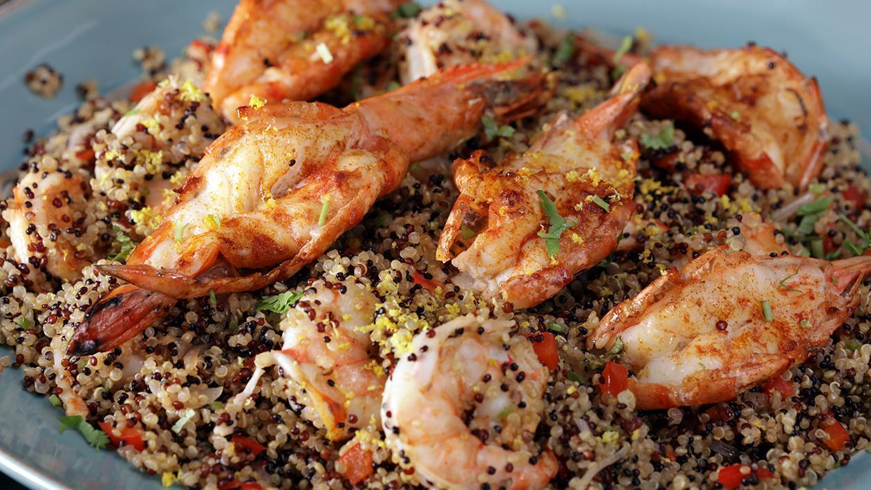 Smokey Prawns and Garlic Quinoa