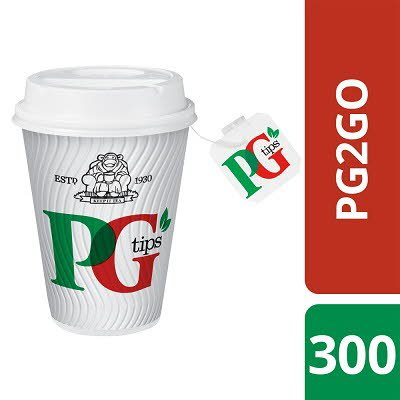 PG tips 2GO 300 Tagged Teabags, Cups & Lids -