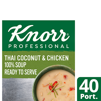 KnorrProfessional 100%Soup ThaiCoco&Chicken4 x 2.4L - Delight your customers with new Asian style Knorr 100% Soups.