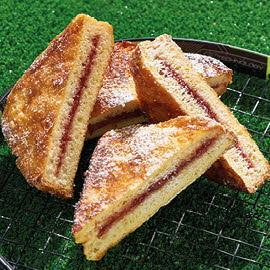 French toast filled with strawberry jam