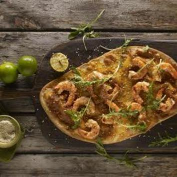 Piri piri flat bread with lime roasted prawns