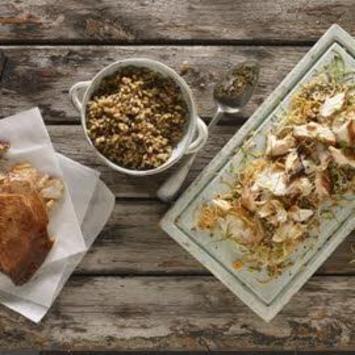 Roast Teriyaki salmon and ancient grain salad