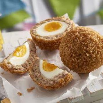 Scotch eggs with piccalilli